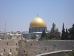 The Dome of the Rock seen behind the Western Wall. A key area in the Israel-Palestine conflict.